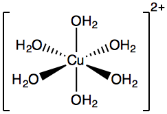 Hexaaquacopper (II) ion diagram.